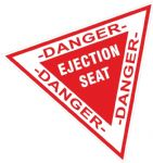Funny WARNING EJECTION SEAT Triangular Design External Vinyl Car Sticker Decal 115x103mm